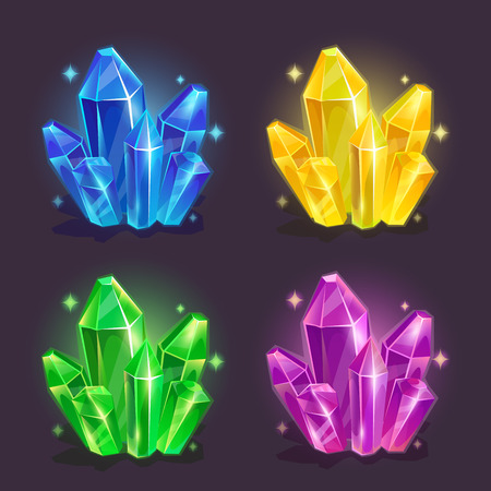 Magic crystals in different colors, vector set Illustration