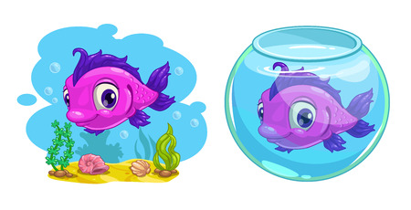 sea weeds: Cute cartoon pink fish in the tank and in the sea, vector illustration