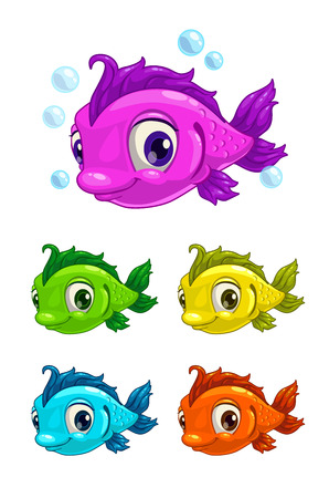 Cartoon cute fish, different colors, isolated vector illustration Çizim