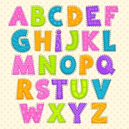 아기: 귀여운 재미 유치 알파벳입니다. 벡터 글꼴 그림
