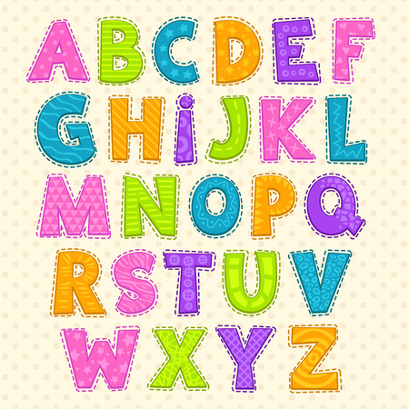 Cute funny childish alphabet. Vector font illustration Çizim