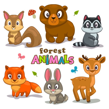 rabbits: Set of cute cartoon forest animals, childish vector illustration