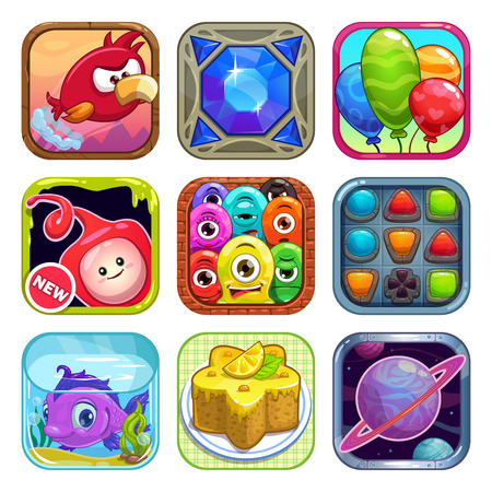Set of cool app store game icons, vector illustration Illustration