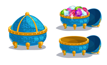golden pot: Little cartoon blue casket, closed, empty and full of gems, isolated on white