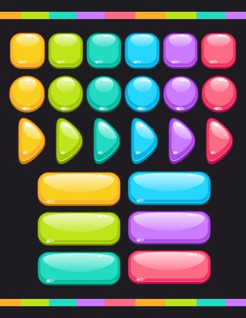 かわいいカラフルな光沢のあるボタン、ゲームや web のデザインのベクトル アイテムのセット