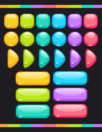 push: Set of cute colorful glossy buttons, vector items for game or web design