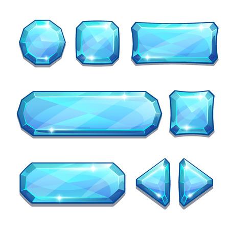 Set van blauw kristal knoppen, geïsoleerd op wit