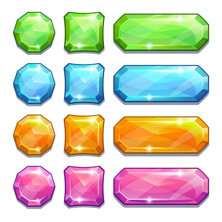 square button: Set of cartoon colorful crystal buttons for game or web design, isolated on white