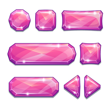 Set of pink crystal buttons, isolated on white