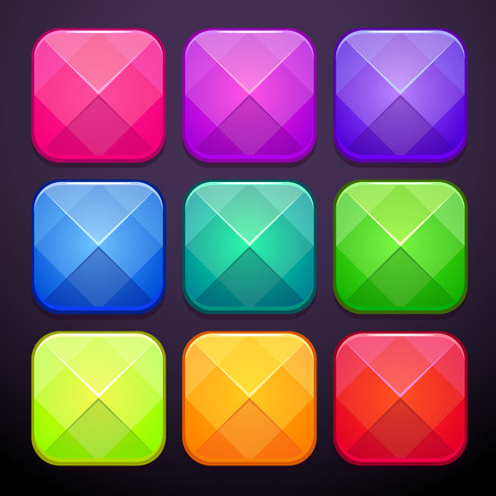 Set of fancy modern faceted square buttons, vector isolated elements