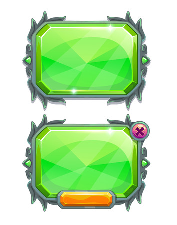 jewels: Green crystal panels, vector game assets, isolated on white background