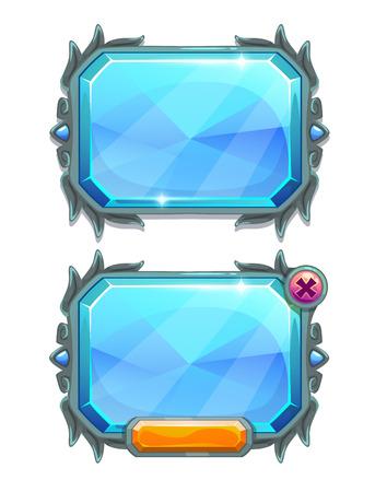 jeu: Panneaux � cristaux bleus, les actifs de jeux vecteur, isol� sur blanc