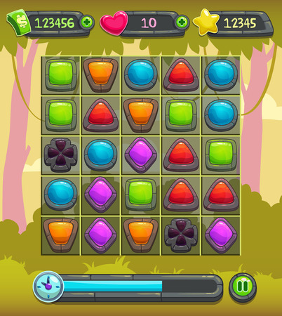 Game interface screen, including gui elements and background Illustration
