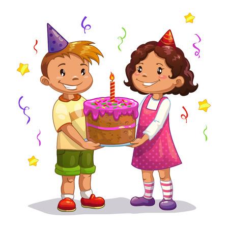작은 만화 아이 큰 생일 케이크, 고립 된 벡터와 함께