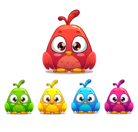 bird: Little cute cartoon bird, colorful variants. Isolated vector illustration.