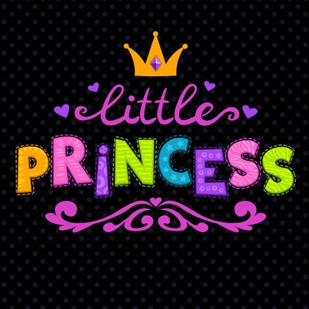 Cute vector illustration for girls t-shirt print, little princess lettering on black 일러스트