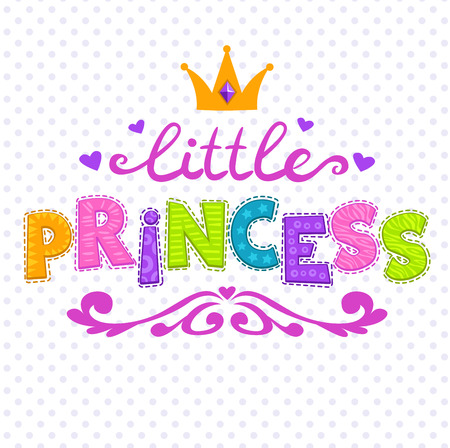 Cute vector illustration for girls t-shirt print, little princess lettering on white 일러스트