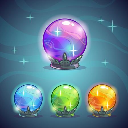 pelota caricatura: Conjunto de bolas de cristal de magia, ilustración vectorial de hadas