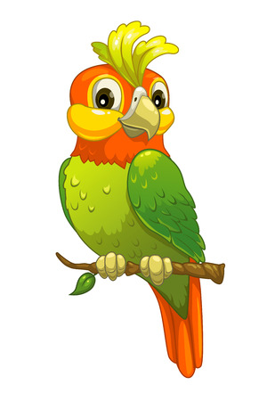 Funny cartoon parrot, isolated vector on white Ilustração