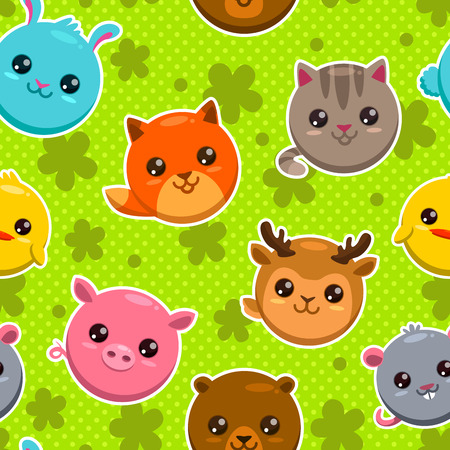 Seamless pattern with cute cartoon round animal faces