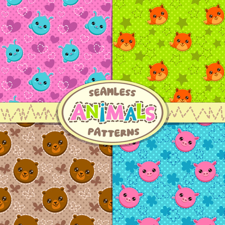 funny animal: Set of cute seamless patterns with funny animal faces