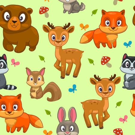 cartoon mushroom: Seamless pattern with cute cartoon forest animals, childish vector illustration
