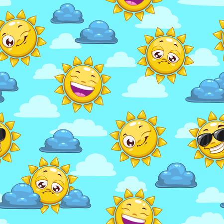 estrella caricatura: Patrón sin fisuras con carácter sol de la historieta en el cielo nublado