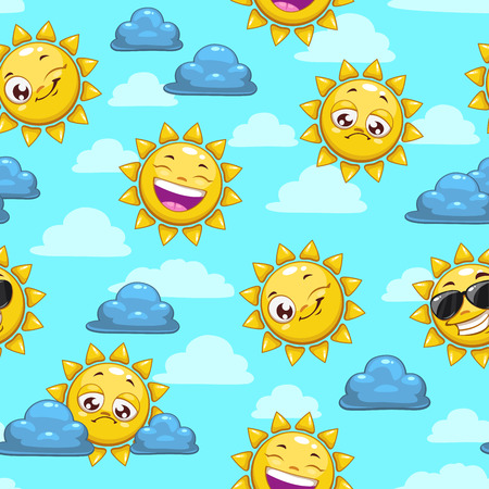 Seamless pattern with cartoon sun character on the cloudy sky