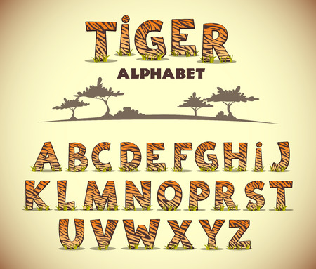 safari animals: Tiger alphabet, vector font with wild pattern Illustration
