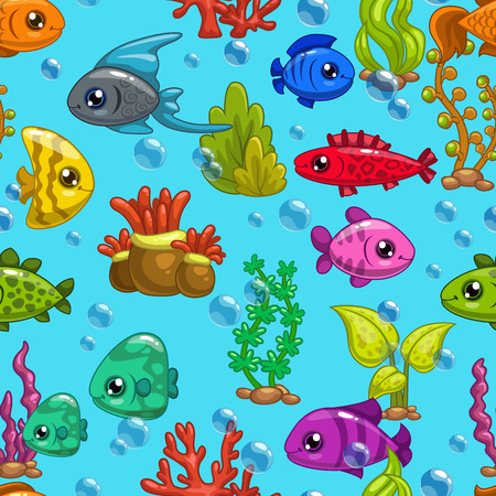 weeds: Seamless pattern with cute cartoon fishes and sea weeds on blue