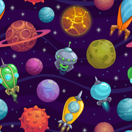 Seamless pattern with cartoon planets and space ships Stock Illustratie