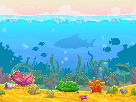 scene: Underwater seamless landscape, neverending vector bottom illustration, cartoon background for game design