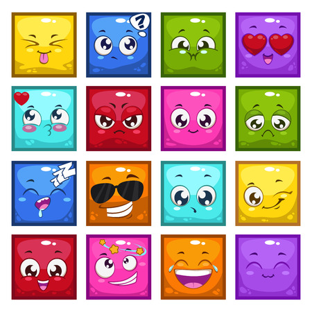 cartoon kiss: Set of colorful cartoon square characters with different emotions, isolated vector emoticons, funny avatars Illustration