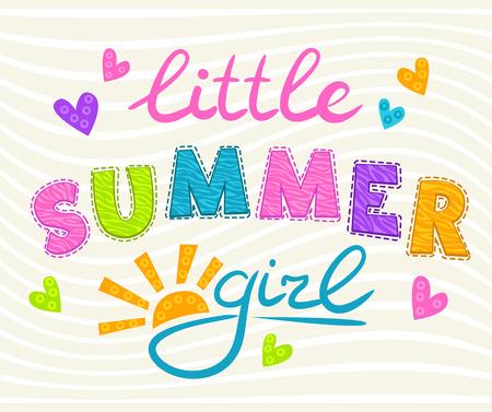 compliments: Little summer girl inscription. Cute vector illustration for girls t-shirt print.