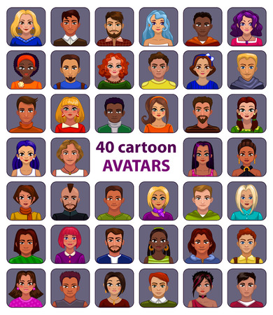 Cute cartoon human avatars set, big male and female faces collection 矢量图像