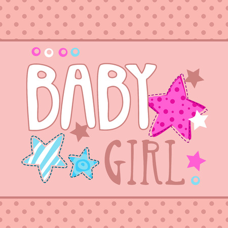 cute baby girl: Cute baby girl vector illustration, template for girls t-shirts design