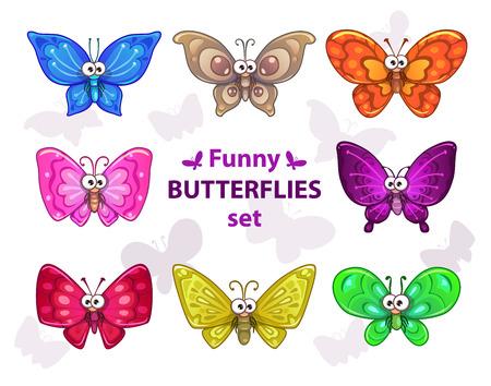mariposa caricatura: Mariposas de colores divertidos dibujos animados conjunto, los personajes de vectores aislados
