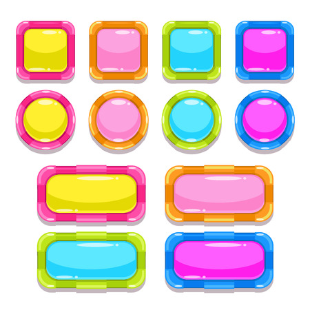 game design: Funny colorful buttons set, isolated elements for web or game design