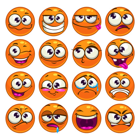 Orange cartoon round characters with different emotions, isolated vector emoticons set