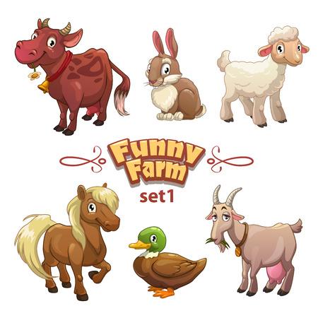 hayvanlar: Komik çiftlik illüstrasyon, vektör çiftlik hayvanları, beyaz üzerine izole