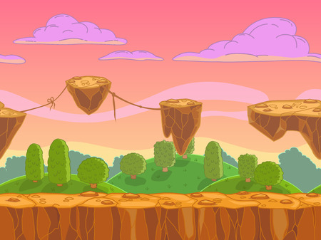 Seamless cartoon fantasy landscape with flying rock islands, vector illustration