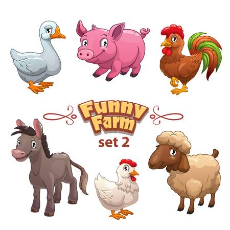 animal cock: Funny Farm illustrazione, animali da fattoria vettore, isolato su bianco