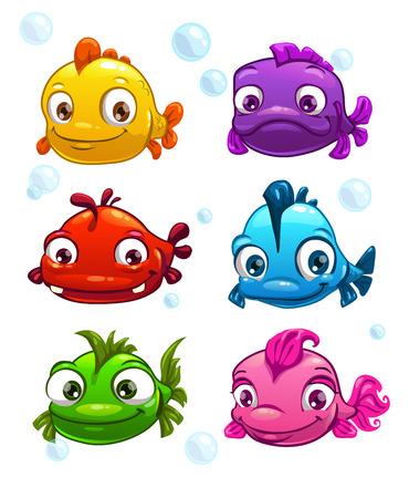 cara: Divertidos dibujos animados peces de colores conjunto, ilustración vectorial Vectores