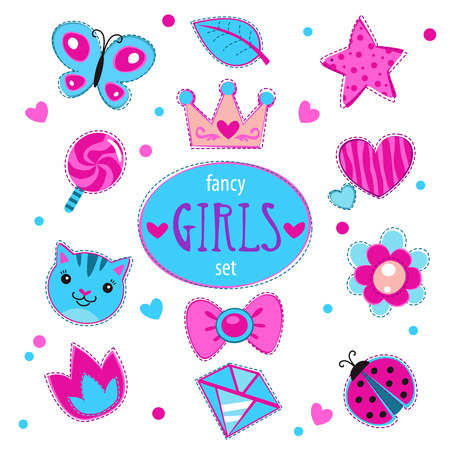 girlish: Cute girlish vector set, fancy doodle elements for girls, isolated on white