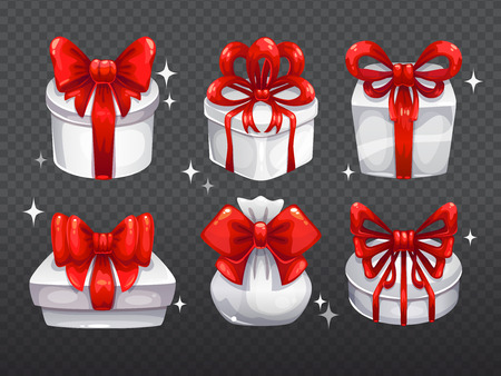 big boxes: White gift boxes with big red bows, isolated vector elements
