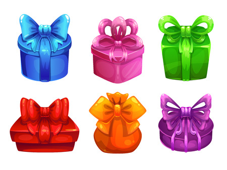 large group of items: Vector colorful gift boxes with big bows, gradients only,  isolated on white