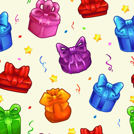 gift pattern: Seamless pattern with colorful gift boxes, vector square endless illustration