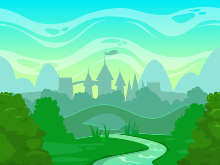 Seamless cartoon fantasy morning landscape with castle silhouette, vector illustration