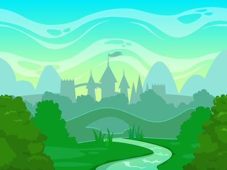Naadloze cartoon fantasie ochtend landschap met kasteel silhouet, vector illustratie Stock Illustratie