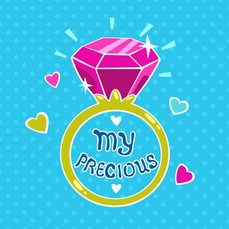 girlish: Cute vector girlish illustration, template for girls t-shirt design or cards printing